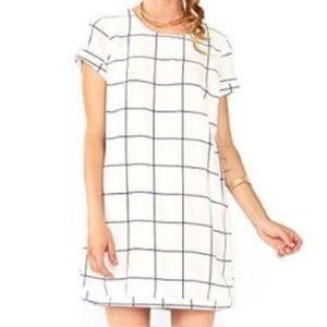 Sugar + Lips White & Black Shift Checker Dress